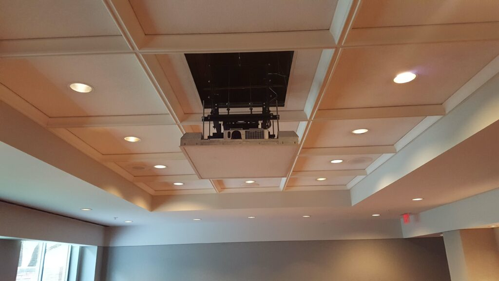 Corporate Boardroom With Ceiling Recessed Projector Lift